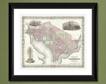 1855 Colton Plan of Washington D.C. – 12x14 Heavyweight Print
