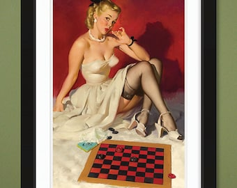 Gil Elvgren – Check and Double Check – Now Don't Get Me in a Corner 1946 (12x18 Heavyweight Art Print)