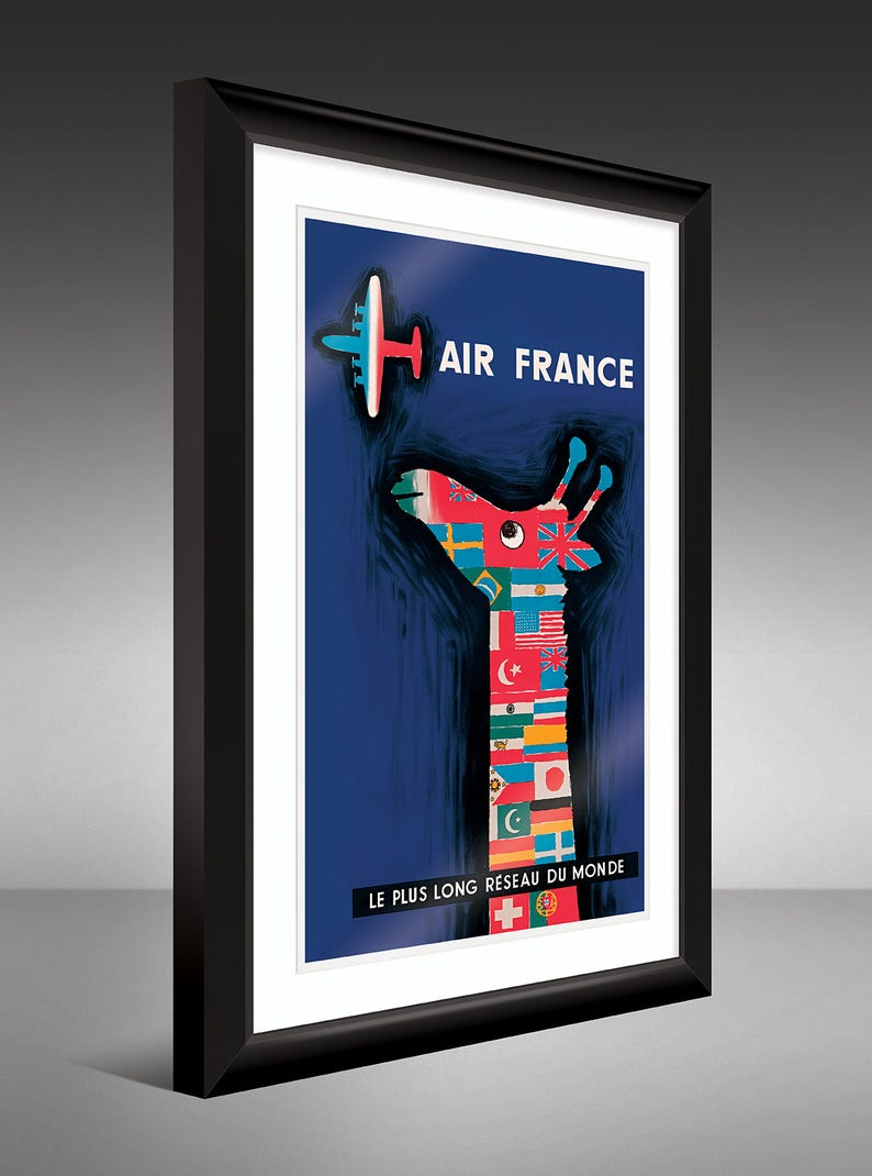 Travel Poster – Air France – Giraffe Multi-Flag (12x18 Heavyweight Art  Print)