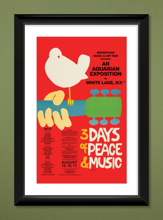 WOODSTOCK FESTIVAL 1969 Original Concert Poster Quality Print