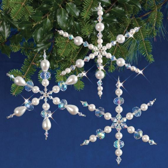 Sparkling Snowflakes Beaded Christmas Ornament Kit (SNOWFL) - Sparkling Snowflakes Beaded Christmas Ornament Kit SNOWFL Etsy