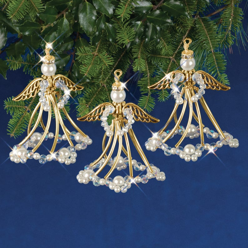 Golden Angels Beaded Christmas Ornament Kit Nc006