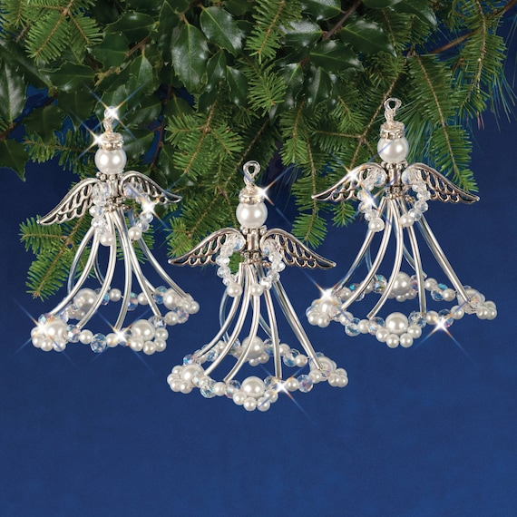 Silvery Angels Beaded Christmas Ornament Kit Nc005