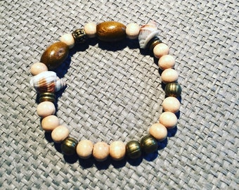 Boho Hippie shells, beads bracelet