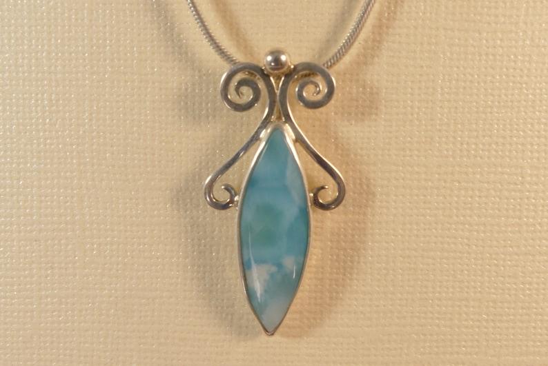 Larimar Pendant Sterling Silver Pendant Larimar Necklace