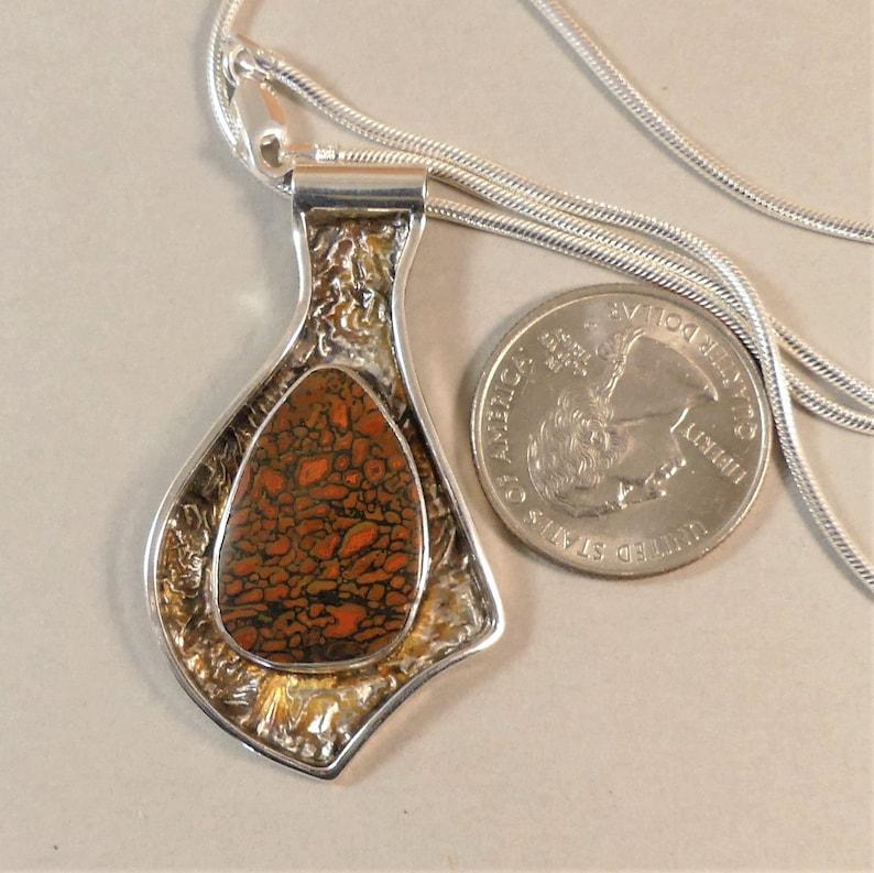 Sterling Silver Necklace Dinosaur Bone Pendant Reticulated Silver Pendant Silver Pendant