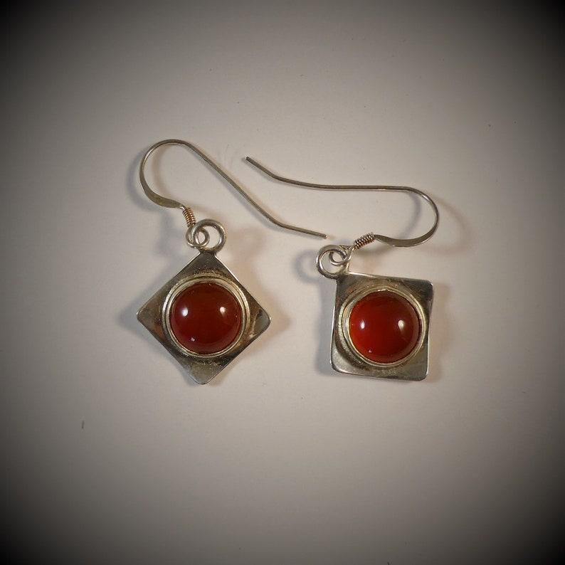 Sterling Silver Earrings Carnelian  Earrings