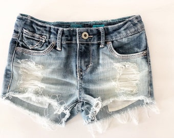 e99348b854f4 Made To Order Girls Distressed Shorts - Kids Jean Shorts - Little Girls  Shorts - Frayed Denim - Boho - Hippie Clothing - Girls Jean Shorts