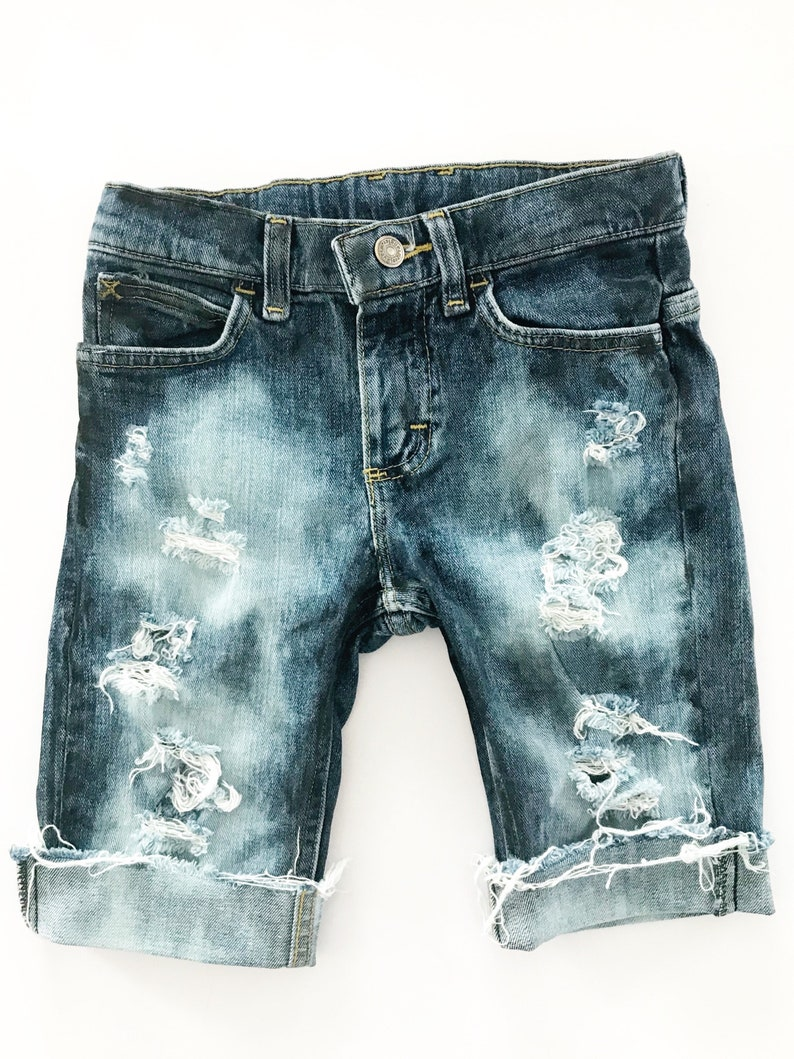 1be4652889a Distressed Denim Boy Shorts Boy/Girl Shorts Bermuda Shorts | Etsy
