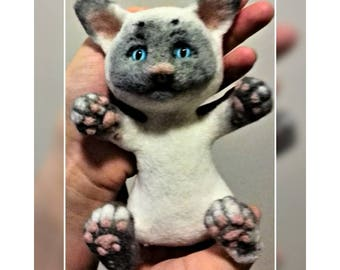 Kitty  Siamese Polynesian cat | Needle Felted  animal toys to order | Stock. price reduced