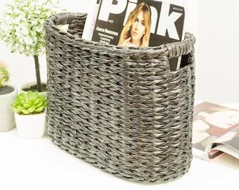 Wicker magazine rack, Oval newspaper basket, Paper storage, Mail organizer, Magazine holder, Mail tray, Willow book stand, Farmhouse basket.