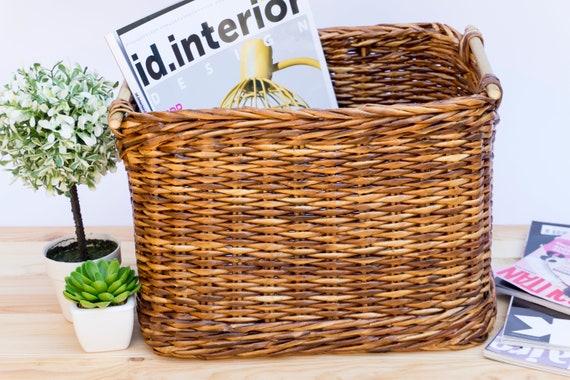 Wicker storage basket bin with bamboo handles Toy storage   Etsy