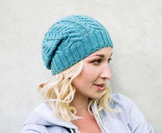 Knit slouchy beanie Cable knit hat Knitted hat for women  16743f7c1f6