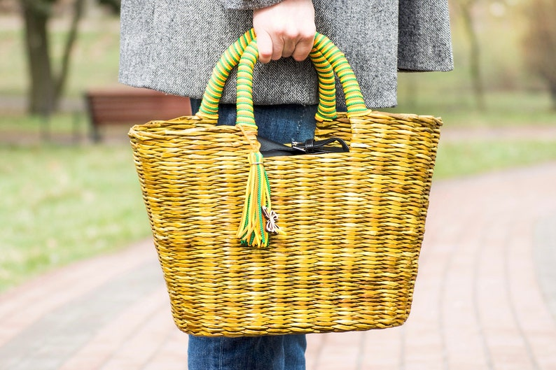 02ee13d17e Wicker Beach tote bag Straw beach bag Market bag Picnic basket