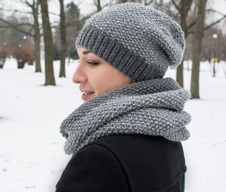 afb3016b6d1 Winter knitted gray set Knit slouchy beanie hat Womens