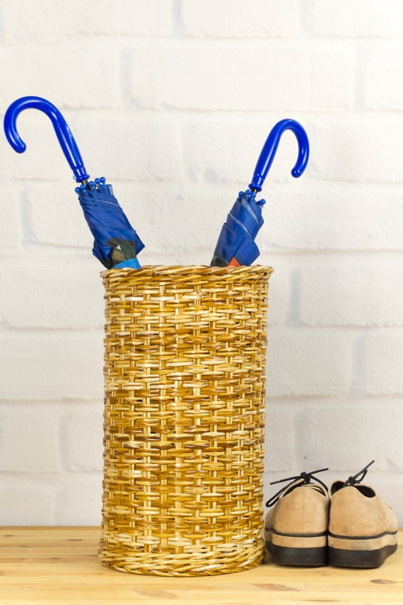 Wicker Umbrella And Cane Stands For Entryway Braided Etsy