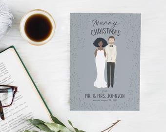 Wedding Christmas Card, Illustrated Christmas Card, Couple Christmas Card, Custom Christmas Card, Newlywed Christmas Card, Christmas Card