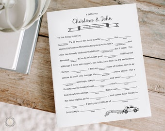 Wedding Mad Libs, Mad Libs Game, Alternative Guest Book, Wedding Game, Reception game, Printable Mad Libs, Personalized Mad Lib Game