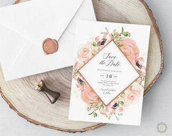 Save the Date, Pink Save the Date, Floral Save the Date, Save the Date Printable, Save the Date Card, Watercolor Save the Date, Rustic, #PRG