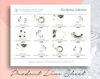 Line Sheet WORD Template, Wholesale Catalog, Simple & Elegant Product Sales Sheet, Portrait or Landscape - 4 Layout Options