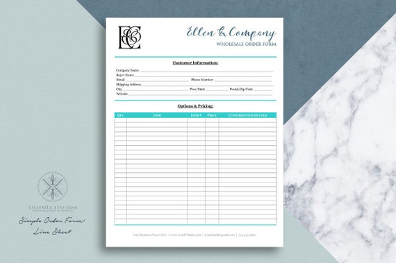 Text Only Order Form Line Sheet Template For Wholesale Orders Word Template Printable 8 5 X 11 Form Editable Form In Word