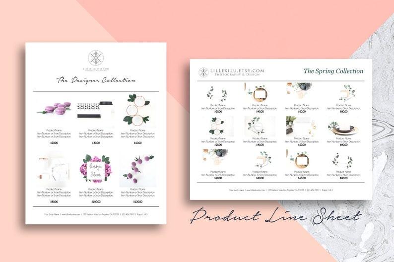 Line Sheet WORD Template Wholesale Catalog Simple & Elegant image 0