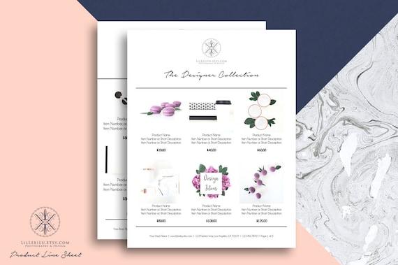 line sheet word template wholesale catalog simple elegant etsy