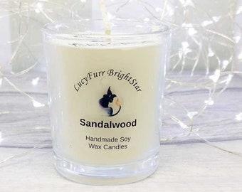 Sandalwood Handmade Soy Wax Candle in Glass Container/ Soy Scented Candle/ Sandalwood Soy Candle