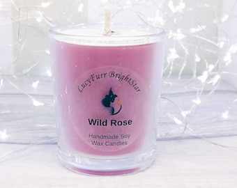 Wild Rose Handmade Soy Wax Candle in Glass Container, Valentines Gift Idea, Wild Rose Candle, Mothers Day Gift, Wild Rose Scented Candle