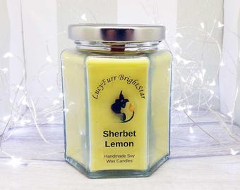 Sherbet Lemon Handmade Soy Wax Candle in Glass Jar Container with Wood Wick / Soy Scented Candle/ Scented Candle/ Container Candle
