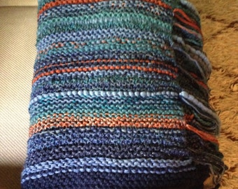 Luxe Cozy One-of-a-Kind Hand Knit BLUE + Rust Merino Wool Acrylic Striped BLANKET Earth Tone FRINGE