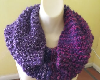 Hand Made Hand Knit Purple + Pink Infinity Scarf Cowl Color Block