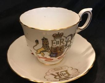 China Coronation Queen Elizabeth II Teacup & Saucer