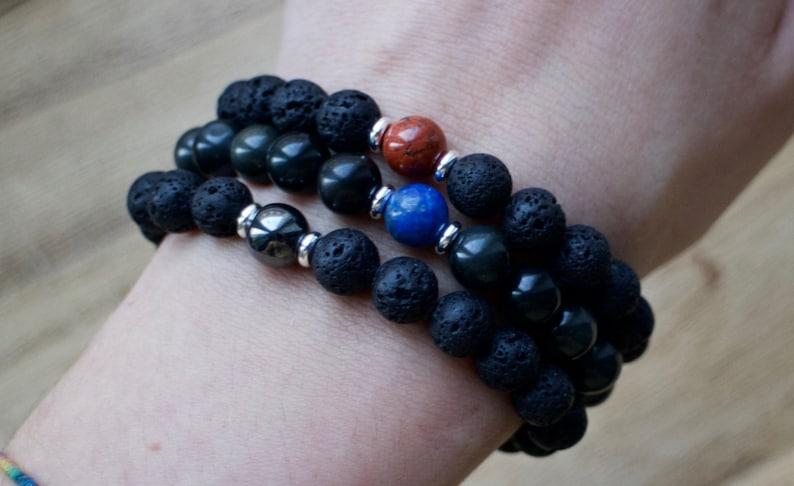 Spiritual Jewelry Hematite Mala Bracelet Yoga Jewelry Lava Stone Mala Bracelet Boho Healing Wrist Mala Beads Mens Yoga Bracelet