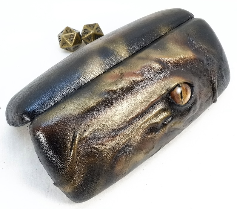 Unusual Glasses case - Leather Dragon - Hand Painted Eye - Sculpted Hard Case with Snap Closed Hinge.