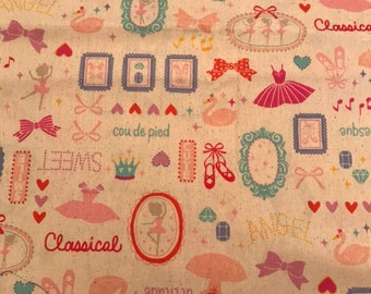 Fat Qtr Cosmo Cotton Linen Blend Canvas Bears and Sweets on Pink Background