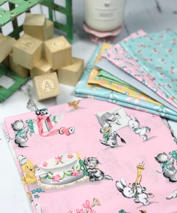 Perfect Party Presents on a pink background by Cottage Mama for Penny Rose Fabrics CottonSold by the half yard