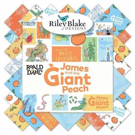 James and the giant peach toss on a white background story by Roald Dahl for Riley Blake Designs Sold by the half yard Cotton