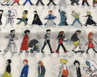 Retro Japanese print of people waking With color/ Cotton/ soft voile fabric/ sold by the half yard
