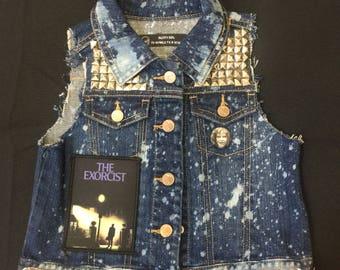 Distressed, bleached and studded Exorcist patch girls vest