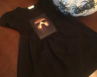 Black cotton dress with adorable Jason Voorhees Patch!