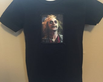 Black cotton t-shirt with adorable Beetlejuice patch