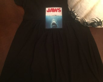 Adorable black cotton dress with Jaws movie patch!