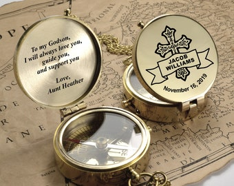 Personalized Compass, Custom Engraved Compass, First Holy Communion Gift, Confirmation Gift, Baptism Gift, Christmas Gift
