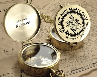Personalized Compass - Custom Engraved Compass, First Holy Communion Gift. Baptism Gift. Confirmation Gift.Godchild Gift.Christmas Baby Gift