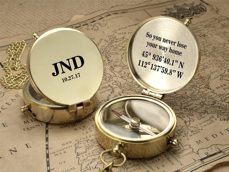Personalized Compass  Custom Engraved Wedding Gift Groomsman image 1