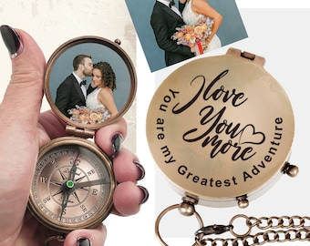 Personalized COMPASS PHOTO Bride Groom Wedding Photo Anniversary Engagement Survival Camping Hunting Outdoor Military Pocket Custom Engraved
