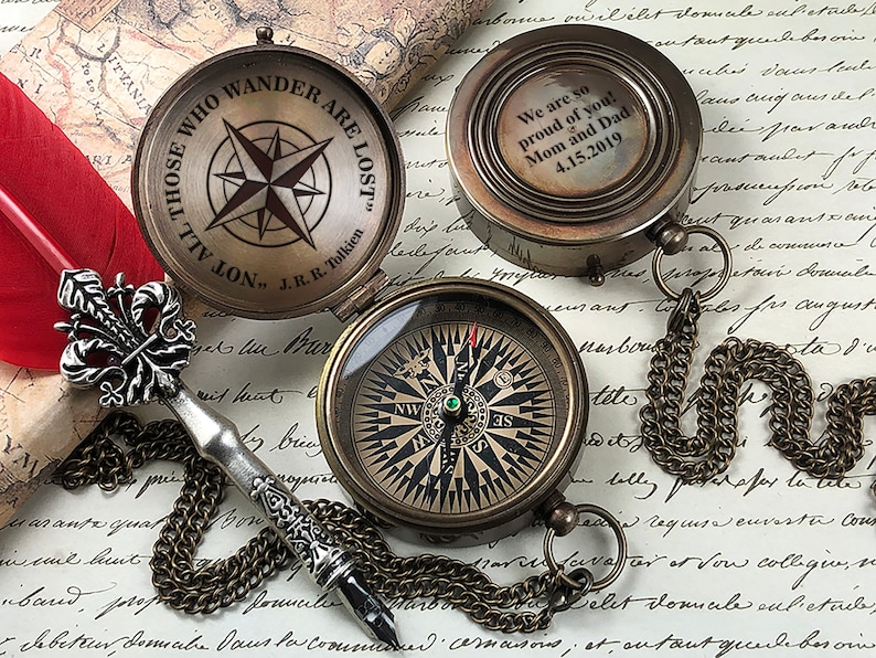 Personalized Compass  Engraved Compass  Gift for Groom  image 0