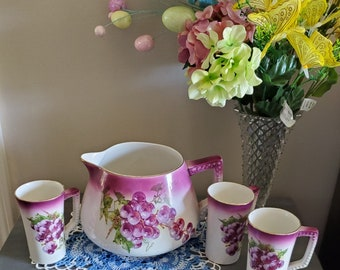 Antique Dresden  China Cider Pitcher with 3 cups, Vintage Pitchers, Pitchers, Vintage Cider pitcher with grape design