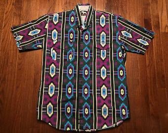 626e6a6574c Large vintage Roper Sport Aztec print men s button up collared shirt purple  black blue gray western tribal